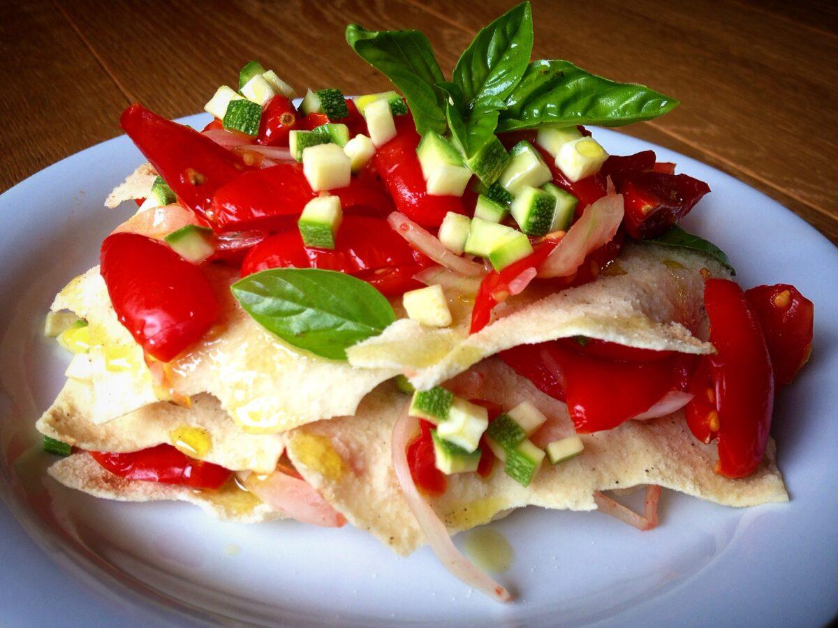 Lasagne Estive con Pane Carasau e Verdure Pressate